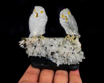 Crystal Quartz Owls on Crystal Quartz with Galena and Pyrite Specimen
