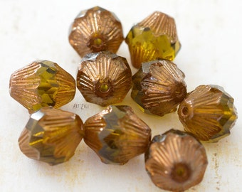 Beads Czech glass, baroque, olive green, copper, 11 x 13 mm, 4 beads.