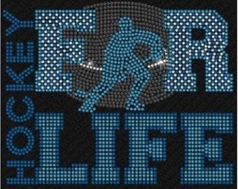 HOCKEY FOR LIFE 33 Rhinestone Iron On T Shirt Design                               L3CJ