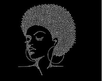 Rhinestone Beautiful Black Afro Girl  Lightweight T-Shirt  OR T Shirt Transfer                               106A