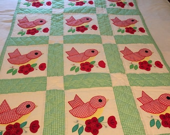 Vintage Hanging Red, Green and Yellow Bird Applique Baby Quilt