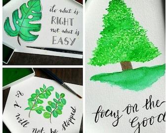 SET OF 3 - Botanical Watercolor Handmade Motivational Notecards