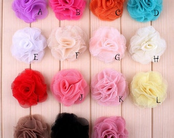 Free Shipping Newborn Mini Crochet Shabby Chiffon Flower Accessories Fashion Tulle Mesh Flowers For Baby Headband Flower Supplies 2.4""