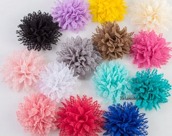 Free Shipping Hot Sale Solid Ballerina Lace Flower For Girl Hair Accessories Artificial Fabric Flowers For Headbands DIY Flower Supplies 4""