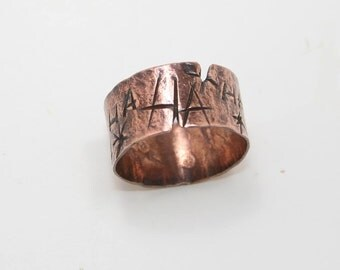 10mm Hammered Copper Ring size 8 1/2-8 3/4