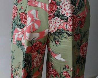 Moschino cheap and chic vintage 80s made in Italy floral multicolor trousers pant italian size 42 USA size 8 green and pink flowers print