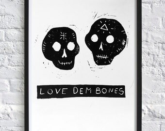 Love Dem' Bones - Sugar Skulls Limited Edition Print. Wall Art, Framed print. Lino Print. Mexicana Day of the Dead. Perfect for Valentines!