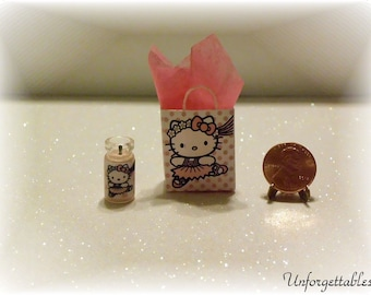 Dollhouse Miniature Handcrafted Hello Kitty Inspired Gift Bag Set 1:12 Scale