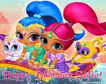 Shimmer and Shine edible cake topper, Shimmer and Shine Cake topper personalized free- edible icing image, Shimmer and Shine birthday party