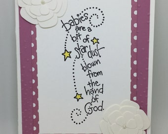 Baby Shower or New Baby Girl Hand-Stamped Greeting Card