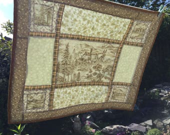 Scottish Castle Countryside Quilted Patchwork Table Topper