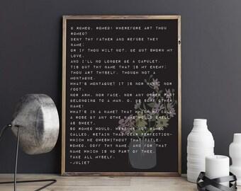 Shakespeare Print, Romeo and Juliet Sonnet, Poetry Print, Wall Art, Gallery Wall, Teacher Print