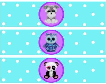 Beanie Boo Water Bottle Labels