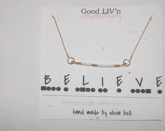 BELIEVE/CUSTOM Morse Code Necklace for Charity