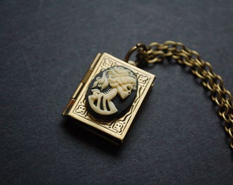 Day of the dead book locket necklace