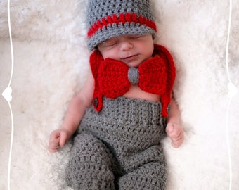 Newsboy Set, Crochet Newborn Hat, Baby Boy Newsboy Set