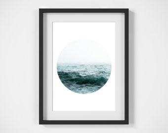 Circle Print, Ocean Art, Printable Art, Digital Download, Wall Art, Photography Print, Ocean Photo, Ocean Print, Poster, Digital Print