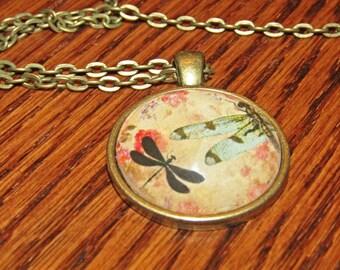 DRAGON FLIES (Fly) Glass Dome Cabochon Pendant Necklace Bronze