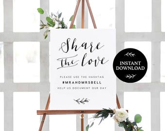 Share the Love Hashtag Sign INSTANT DOWNLOAD Editable PDF, Wedding Hashtag Sign, Hashtag Printable Template, Oh Snap - Lilly