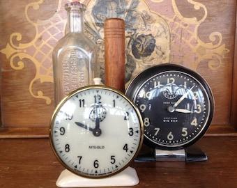 Set of 2 Vintage Wind Up Alarm Clocks