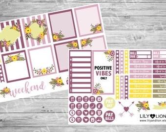 Positive vibes only - Plum Paper Planner mini sticker kit - purple mauve flowers