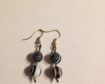 Black and white swirl earrings