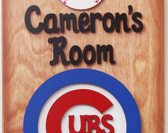 Chicago Cubs Personalized Baseball Sports sign personalized Chicago cubs baseball wooden sports sign baseball  sign baseball fans
