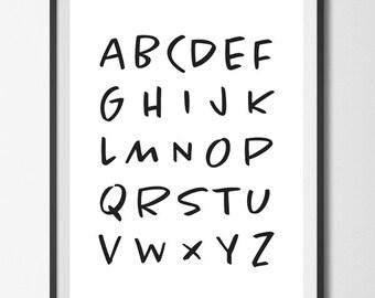 Instant Download, Printable Art, Alphabet, Minimalist Art, Black and White, Typography Print, Printable Decor, Modern Art, Nursey Decor