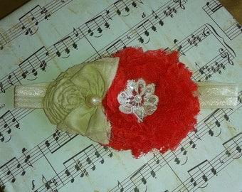 Lace red Shabby chic headband/beige sari silk headband