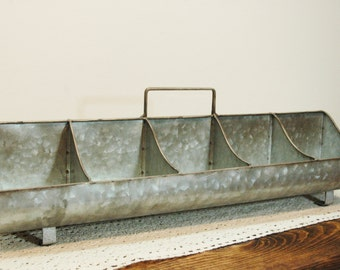 Large Galvanized Caddy, Kitchen decor, Metal Caddy, Farmhouse kitchen, Kitchen organizer, Fixer upper style, Home decor, Hydrangea flowers