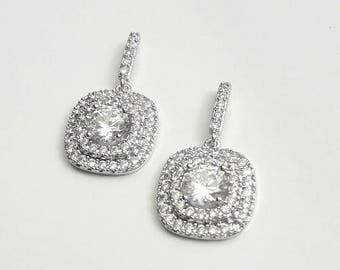 Bridal earrings CZ, Rhodium plated earrings studs, wedding cubic zirconia earrings, Crystal jewelry, Square earrings, Bridal earrings, BJ030