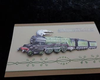 Handmade cards for all occasions, special individual gifts for him, Birthday Card, (Steam Train)