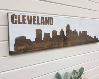 Cleveland skyline wood sign | Buckeye State | Ohio Pride | Cleveland | Rustic | Farmhouse | cavaliers | city | interior decorations