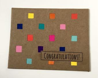 Congratulations Card - Congrats Card - Greeting Cards - Handmade Greeting Cards - Good Job Card - Engagement Card - Repurposed Paper