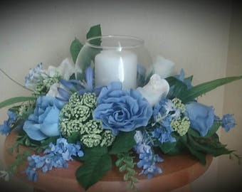 Lovely Blue hues centerpiece with glass bowl and candle
