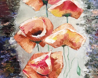 Poppy Painting Oil Canvas / Original Oil Painting on Canvas / Red Flowers Painting / Vertical Wall Art / Oil Poppies Painting / Floral Art