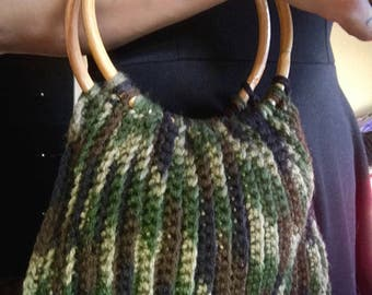 Green camouflage Crochet Bamboo handle Bag