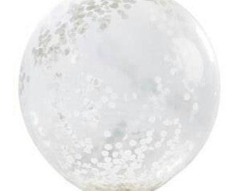 Confetti Balloon - 3ft - Clear with white confetti