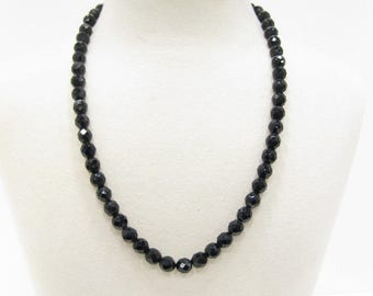 Vintage 1950s  Faceted Black French Jet Glass Bead Necklace