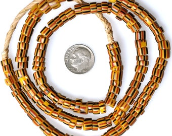 24 Inch Strand of Drawn Venetian Striped Beads  - Vintage African Trade Beads - PY67