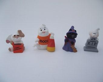 Lot of 4 Vintage Halloween Hallmark Merry Miniatures Mummy Bunny Ghosts Witch Cat