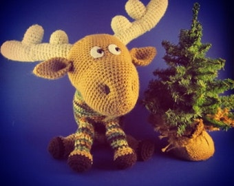 Crocheted moose in camo sweater