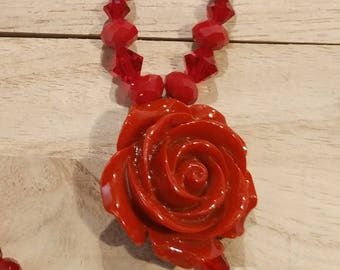 RED Rose Pendant Necklace and Earring set