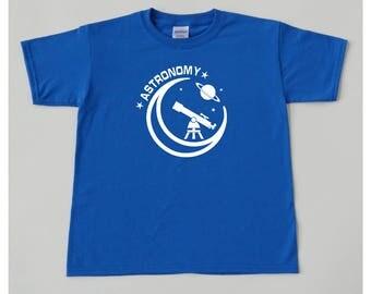 Astronomy kid blue boys shirt telescope planet stars moon