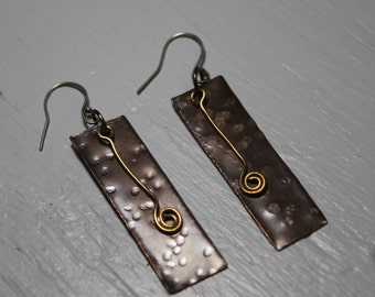Mixed metal dangle earrings