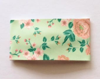 Mint and coral floral faux leather snap clip OR alligator clip