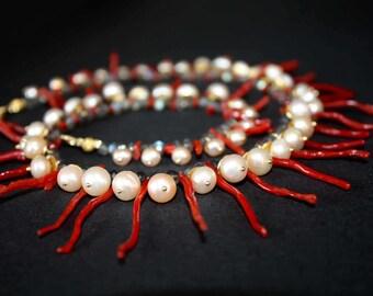 """Coral necklace """"Eva"""""""