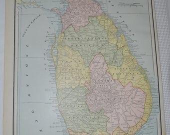 1888 Sri Lanka Original Antique Map, Antique Ceylon Map, Vintage Sri Lanka Map, Asia Old Maps