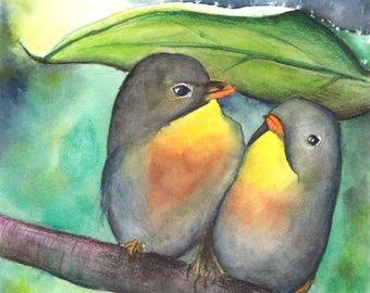 FINE ART - Robins in the rain - Original watercolor painting