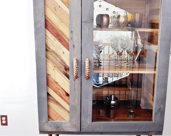 Rustic Yet Sophisticated 100% Reclaimed Hardwood Bar/Liquor Cabinet featuring a Vintage Mirror